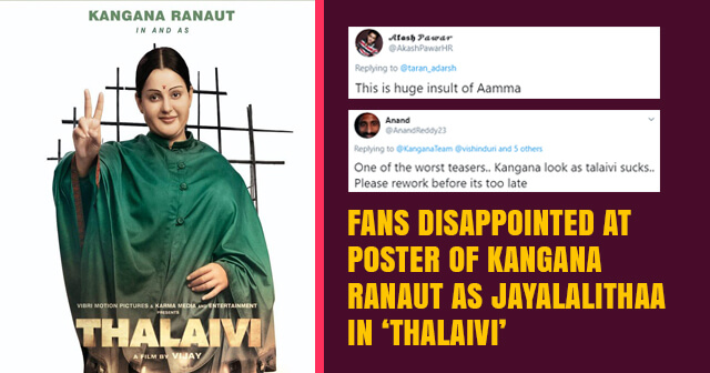 First Look Poster of Kangana Ranaut as Jayalalithaa in 'Thalaivi'