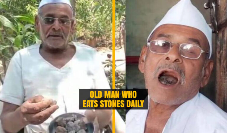 Meet 'Patthar Wale Baba' an 80 Year Old Man who eats 250 Grams of Stones in a Day